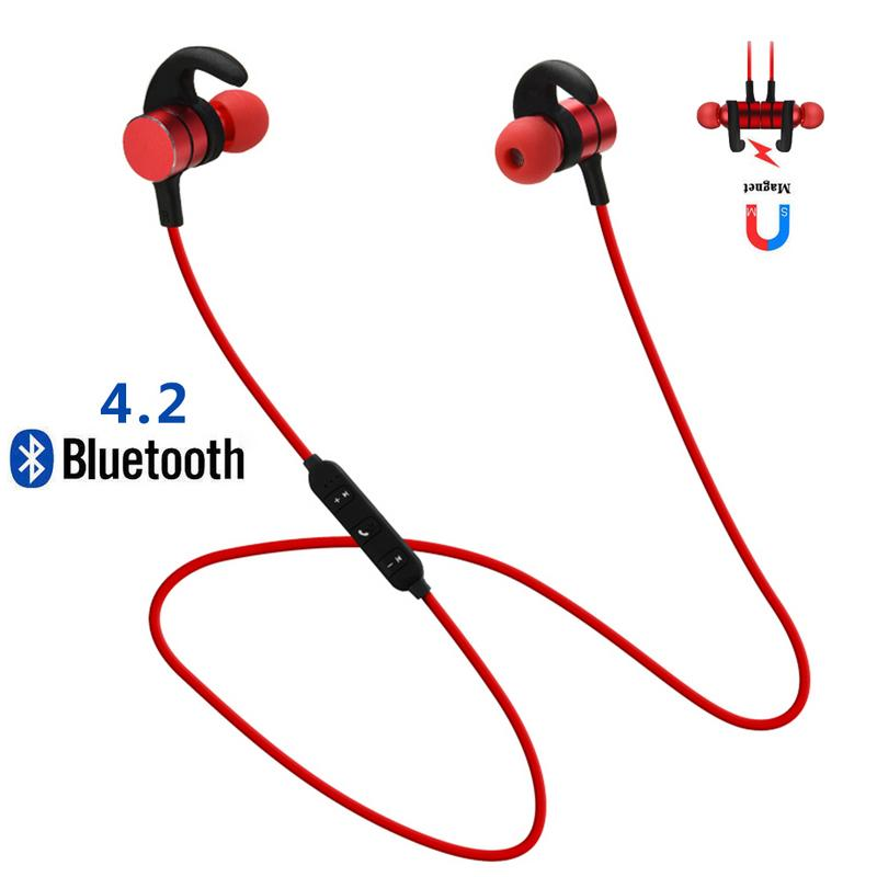 Image 2 - Portable Earphones Wireless Bluetooth Metal Earbud Stereo Hd Sport Sweat proof Magnetic Stereo Hd Devices Universal Mobile Phone-in Bluetooth Earphones & Headphones from Consumer Electronics