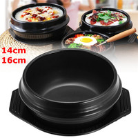 14cm/16cm Black Heat Resisting Korean Ceramic Stone Pot Bibimbap Stews Soup Bowl With Tray Home Kitchen Appliance Parts New