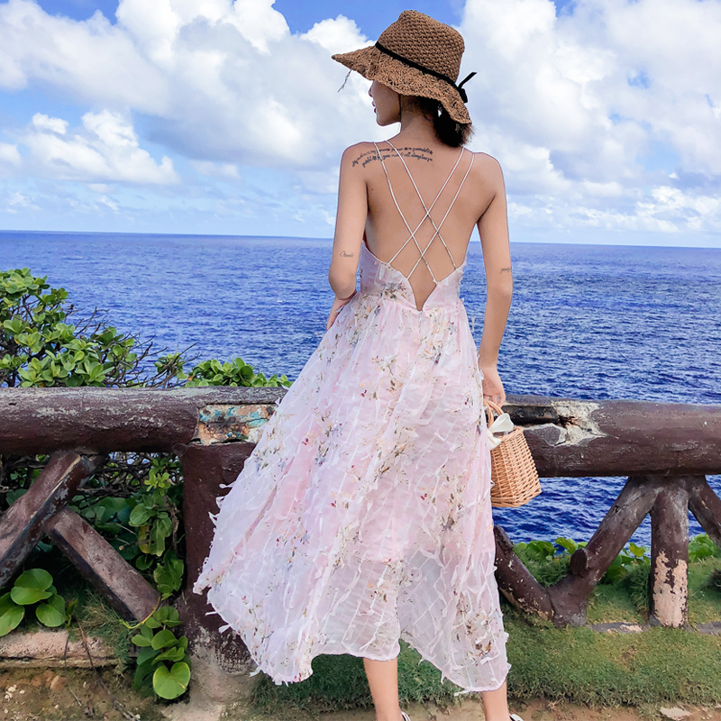 Boho Floral Print Summer Dress Women V Neck Pockets Beach Party Dresses Female Backless Sexy Spaghetti