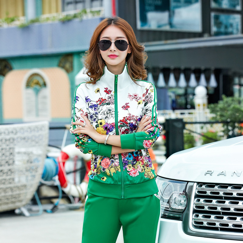 Fashion sport two pieces set floral print long sleeve jacket and long sleeve pants women 2019