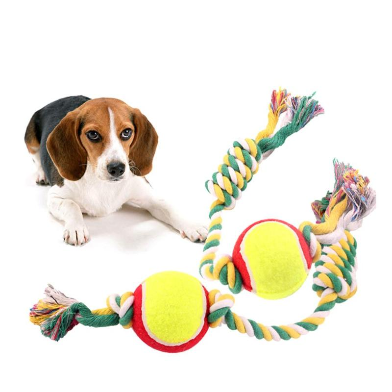 Cotton Pet Dog Rope Chew Tug Toy Knot Bone Ball Shape Pet Palying Teeth Cleaning