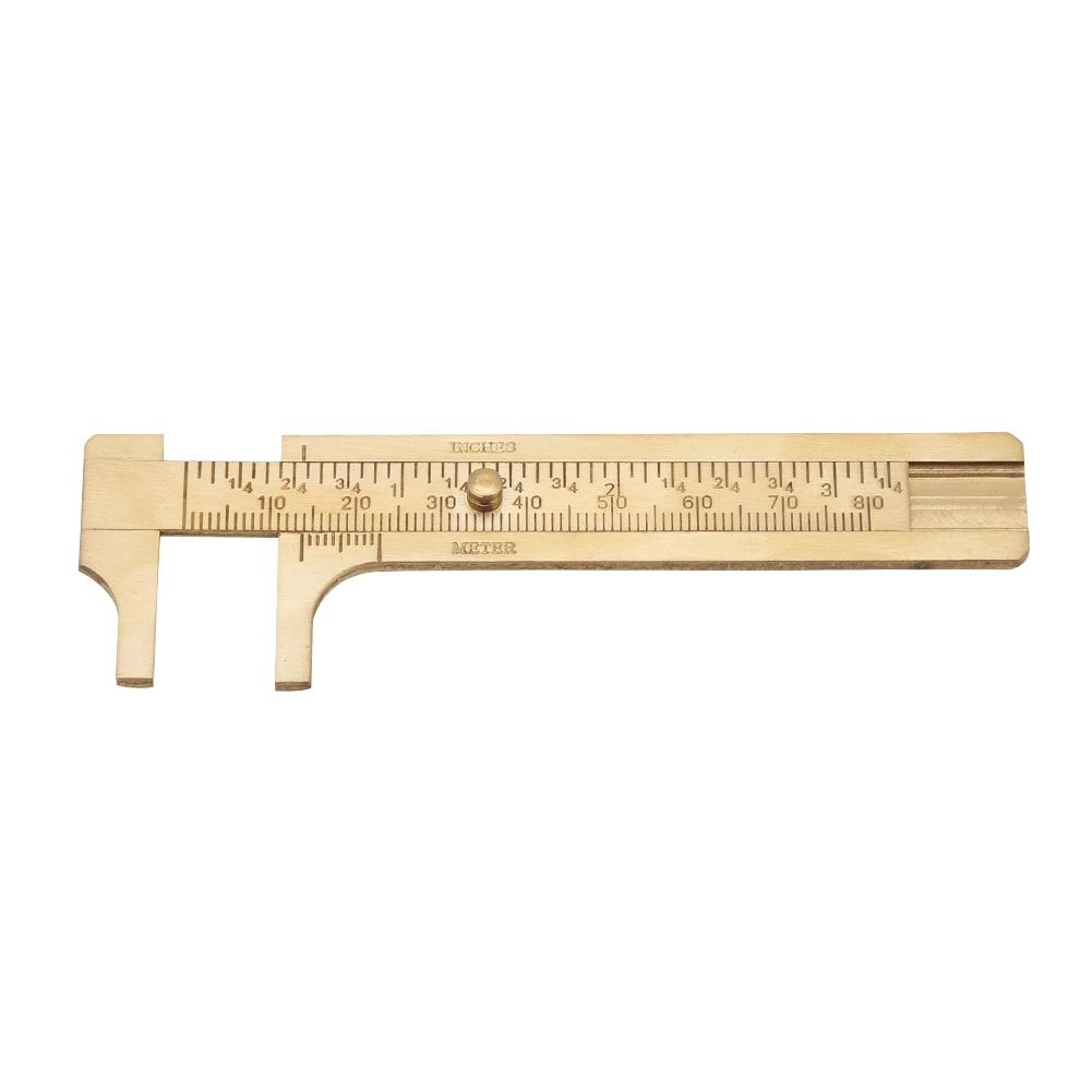 """4/""""//100mm Mini Brass Caliper Sliding Vernier Ruler Gauge Tool Measure Inch//Meter"""