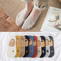 2 pairs new embroidery ladies invisible socks spring and summer candy color silicone non-slip cotton socks female boat socks