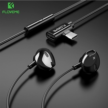 FLOVEME 2 in 1 Type C Earphone For Samsung S10 S9 Headset Xiaomi Mi 8 SE A2 Mix 2S Huawei auriculares bluetooth inalambrico