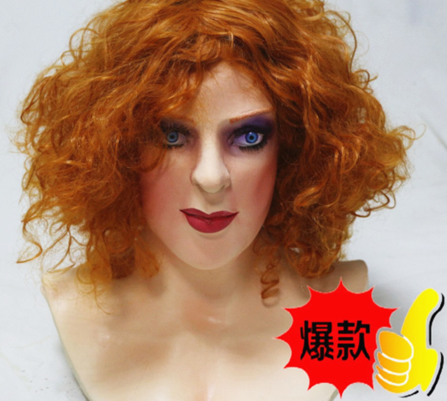 2019 Hot Selling High Quality Fetish Rubber Woman Mask Realistic Cross Dress Halloween Party Dress Latex Young Lady Mask in Party Masks from Home Garden