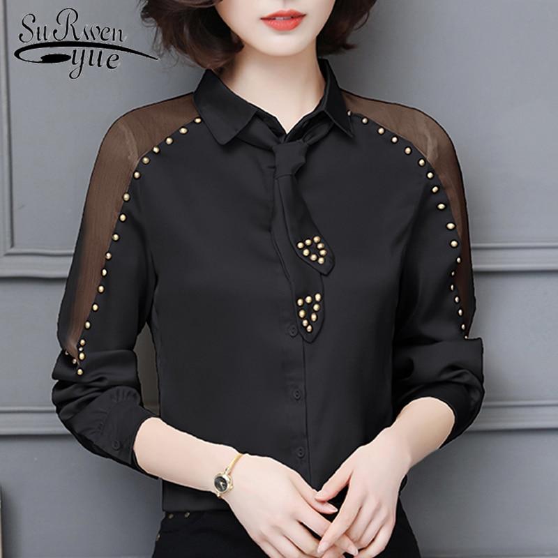 Solid Chiffon   Blouse     Shirt   OL   Blouse   Women Fashion Woman   Blouses   2018 Long Sleeve   Shirt   Women Tops Blusa Feminins   Shirt   1078 40