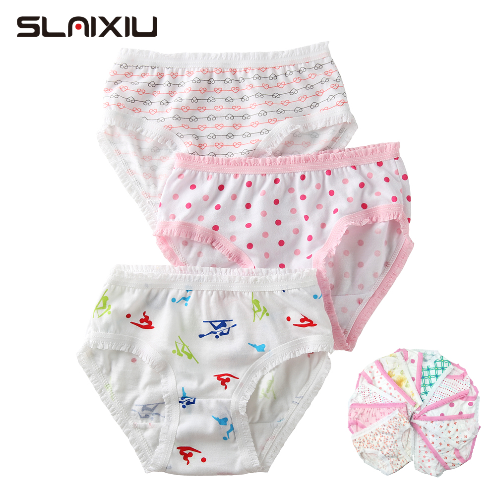 6Pcs/Lot High Quality Kids Girls Briefs 100% Organic Cotton Baby Girl Briefs Shorts   Panties   For Children's Underwear 2-8 y