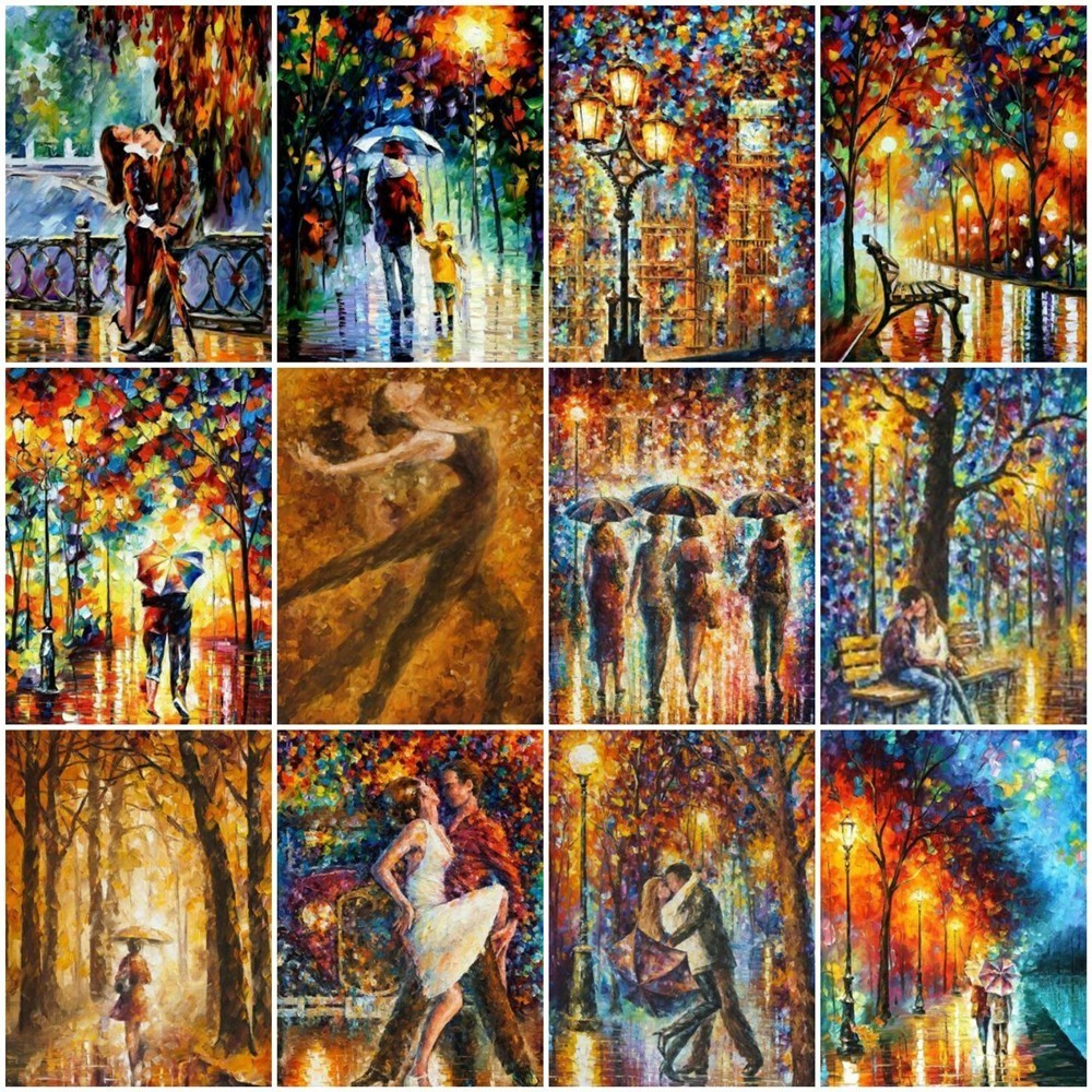 HUACAN DIY Diamond Painting Rain City Night Street Full Square Drill Diamond Embroidery Landscape Rhinestone Mosaic Decor HomeHUACAN DIY Diamond Painting Rain City Night Street Full Square Drill Diamond Embroidery Landscape Rhinestone Mosaic Decor Home
