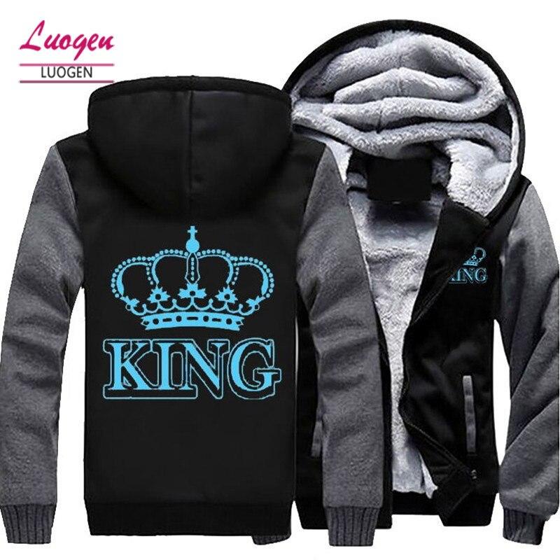 Дропшиппинг Королева Король светящиеся Печатные Зимние флисовые утолщаются для мужчин куртка с капюшоном пальто свитер на молнииунисекс