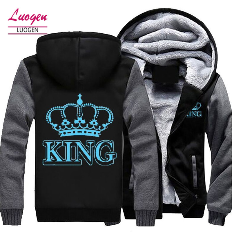 Dropshipping Die KÖNIGIN Die KÖNIG Leuchtende Glowing Gedruckt Winter Fleece Verdicken männer Hoodie Jacke Mantel Zipper Sweatshirt Unisex