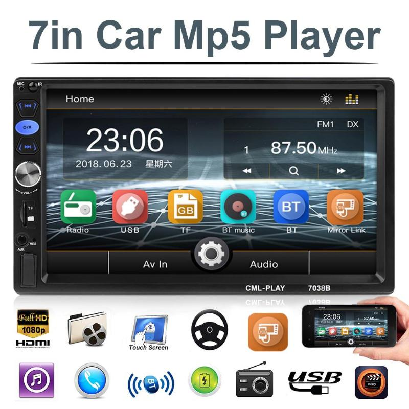 "2 Din  MP5 Multimedia Player Car Rear View Camera TF USB FM Car Radio 7"" HD Touch Screen Audio Stereo Bluetooth Video"