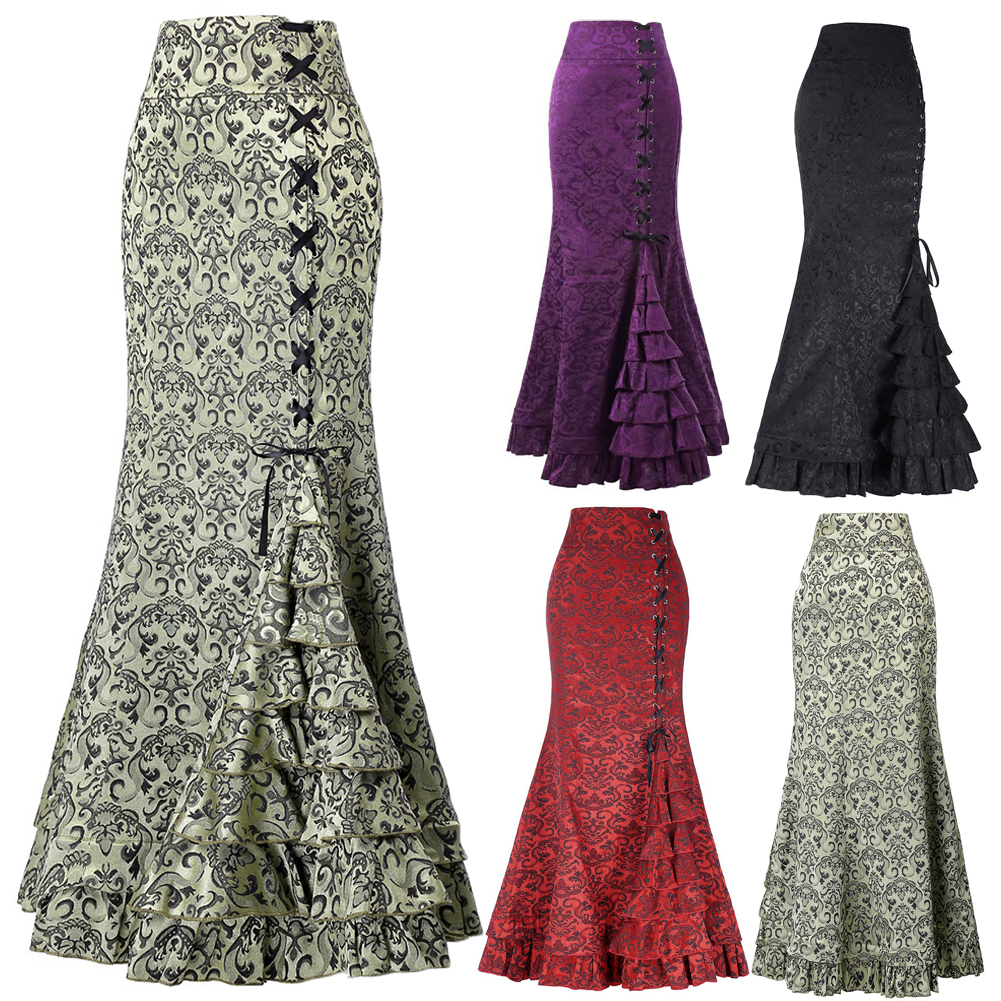 Vintage Victorian Mermaid Long Skirt Lace Up Ruffles Fishtail Bodycon Maxi Skirt Gothic Women Steampunk Skirts Plus Size 2XL