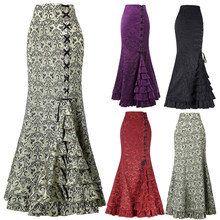 Vintage Victoriaanse Mermaid Lange Rok Lace Up Ruches Fishtail Bodycon Maxi Rok Gothic Vrouwen Steampunk Rokken Plus size 2XL(China)