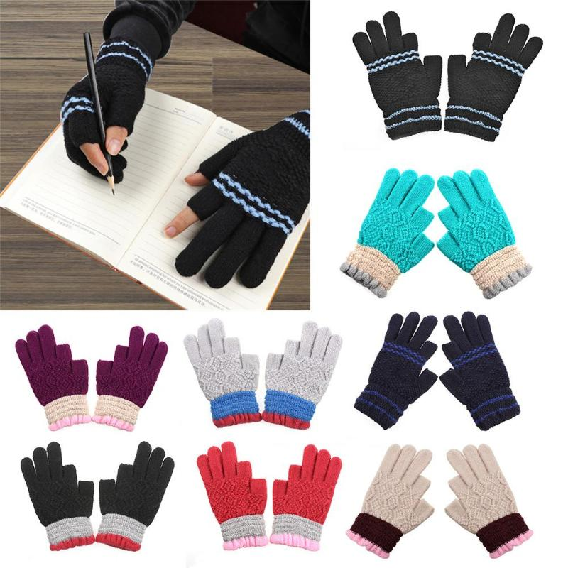 Men Women Knitted Fingerless Gloves Winter Autumn Soft Warm Faux Wool Cashmere Thick Mittens Colors Gloves for Adult Student