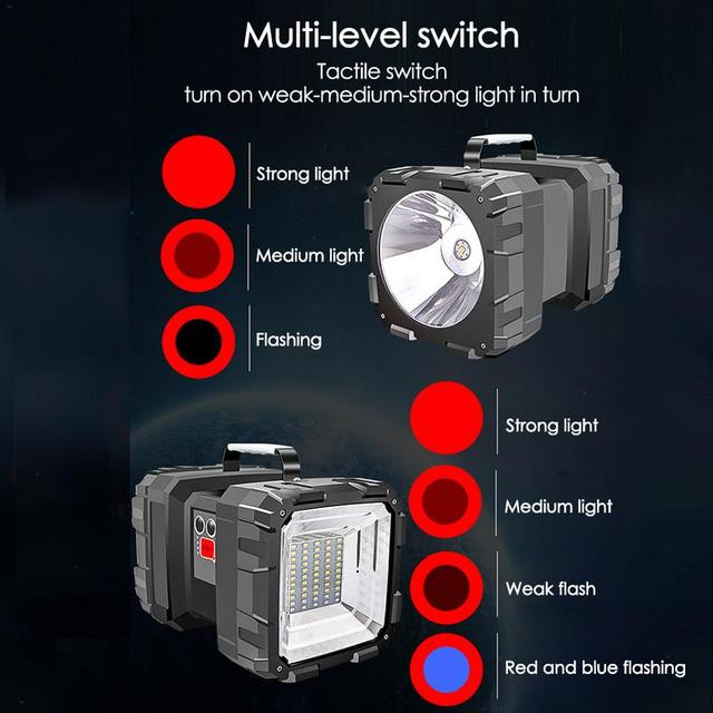 Super Bright Double Head Flashlight Searchlight USB Rechargeable Portable Outdoor Emergency Light Solar Work Light Fishing Light 6