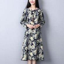 Spring Summer Women Vintage Long Sleeve Loose Linen Dresses Casual Floral Printed O-Neck Dress Vestido