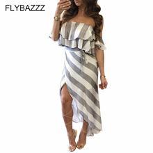 Женское асимметричное платье без бретелек летнее пляжное в полоску