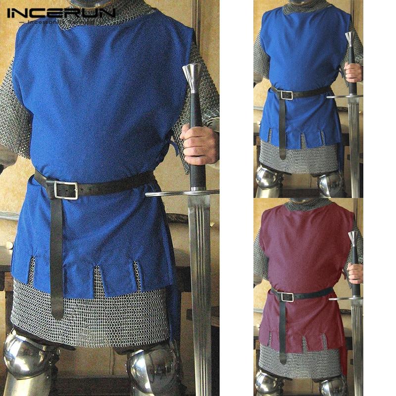 5c5ebf9640ba INCERUN Medieval hombres vikingo Caballero Guerrero camisa sobretodo ...