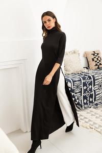 Image 5 - Women Dress Ao Dai Style Maxi Turtle Neck 3/4 Sleeve Loose Elegant Slit Casual Fashion Tunic