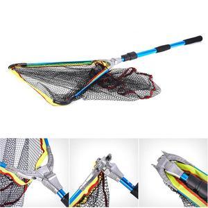 Image 4 - 200mm Blue Folding Fishing Landing Net Fish Net Cast Carp Rubber Coated Net Network With Extending Telescoping Pole Handle