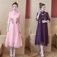 100% Real Silk Women Dresses 2019 New Spring Summer tulle embroidery Flower Two Pieces Half Sleeves Elegant long dress