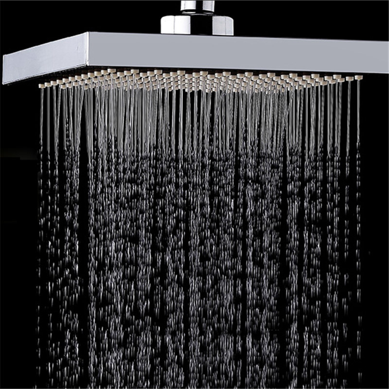 Mrosaa Bath Shower Sprayer 6 Inch Square ABS Top Spray Stainless Steel Thickened Pressurized Rotatable Rainfall Shower Head