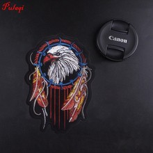 Pulaqi Iron On Patches For Clothes Embroidery Clothing Biker Animal Freedom Eagle Live To Ride Motorcycle Parches H