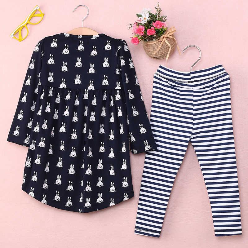 2019 комплект одежды для маленьких девочек, 2 предмета, футболка с длинным рукавом и принтом кролика, платье-топ, леггинсы, штаны в полоску, костюм, новая одежда