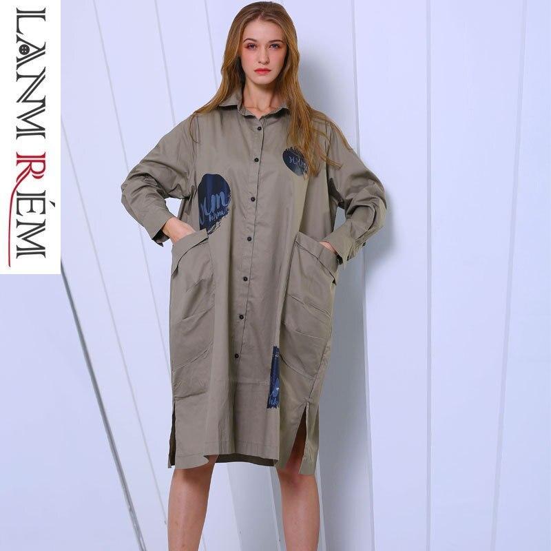 LANMREM 2019 New Fashion Irregular Vent Hemline Printed Shirt Type Dress For Women Female s Long