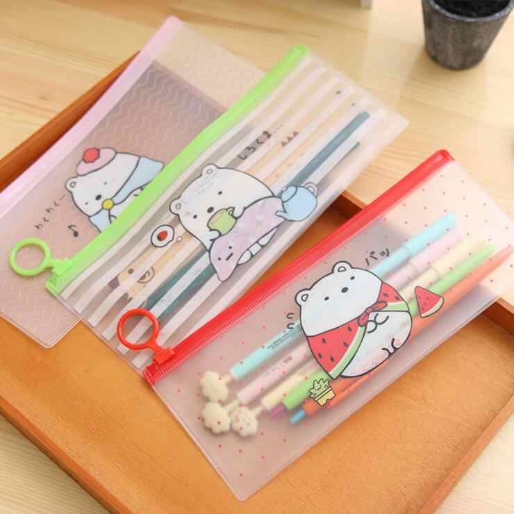 Ellen Brook 1 Piece Korea Stationery Lovely Cute Animals Creative Ring PVC Pencil Bag Translucent School Office Supplies Case