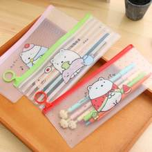 Ellen Brook 1 Piece Korea Stationery Lovely Cute Animals Creative Ring PVC Pencil Bag Translucent School Office Supplies Case(China)