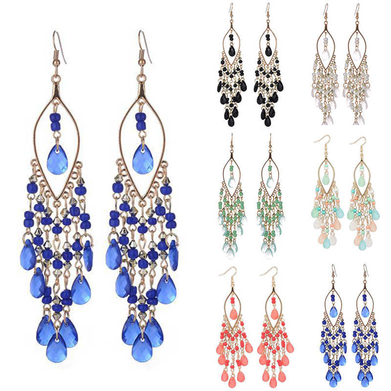 1Pair Crystal Dangle 6 Colors Bohemian Unique Long Tassel Colorful Drop Earring Graceful Beads Gifts Fashion Jewelry
