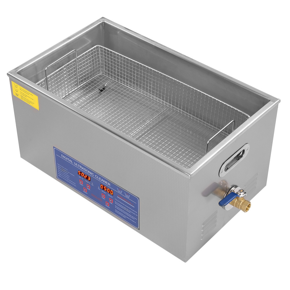 480W 22L Ultrasonic Jewelry Cleaner with Knob Control Timer Heater Stainless Baskets for Ring Glasses Tooth False -in Ultrasonic Cleaners from Home Appliances    2