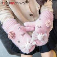 BalleenShiny Rabbit Hair Gloves Crown Bow Design Baby Girl Cute Warm Gloves Child Winter Plus Velvet Furry Mittens For Kids Gift