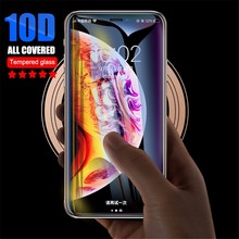 10D Curved Edge Full Cover Screen Protector For iPhone 7 6S 8 Plus Tempered Glass On The For Apple iPhone X XR XS Max Glass Film цены