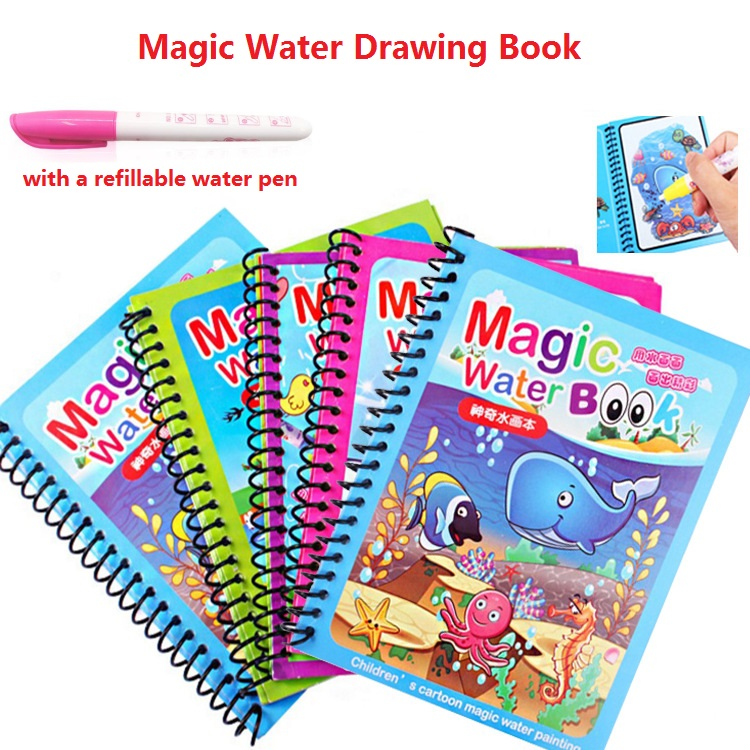 Magic Water Drawing Book With Pen Painting Doodle Book Drawing Board For Boys and Girls Studying Education Toys