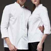 Polyester Cotton White Long Sleeve Shirt Hotel Restaurant Waitstaff Chef Culinary Uniform Barista Bistro Bartender Work Wear B75