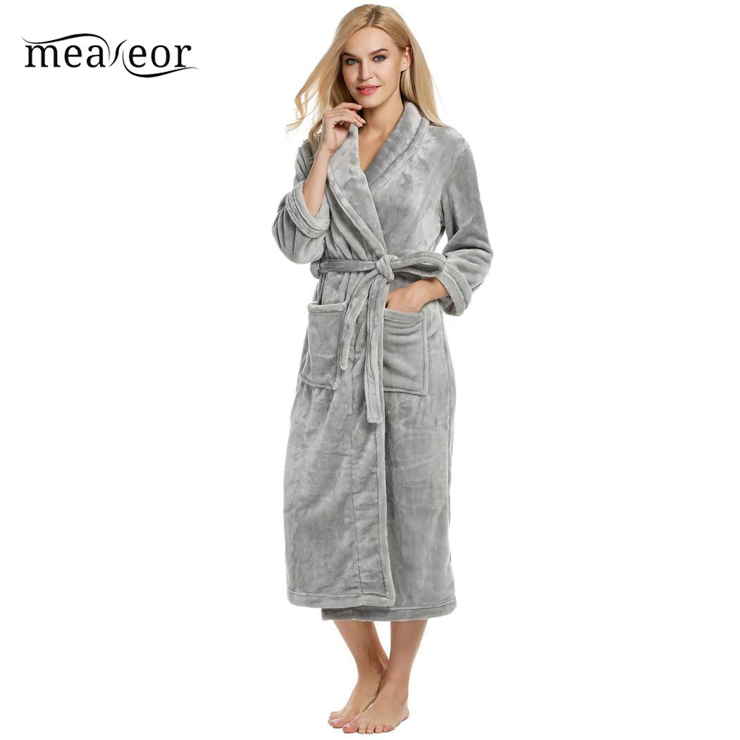 Plush Bathrobe Sleepwear Nightwear Calf-Length Winter Women Autumn Solid Meaneor Tie-Belt