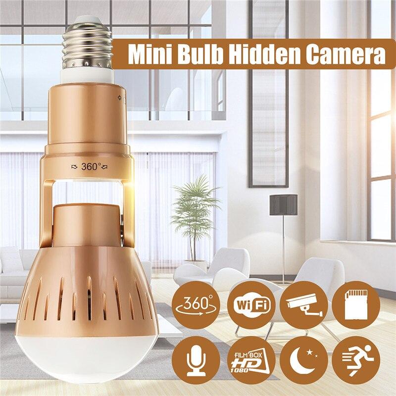 1080 градусов панорамный 360 P Wifi камера беспроводная светодио дный лампа камера FishEye CCTV Домашняя безопасность лампа ночного видения