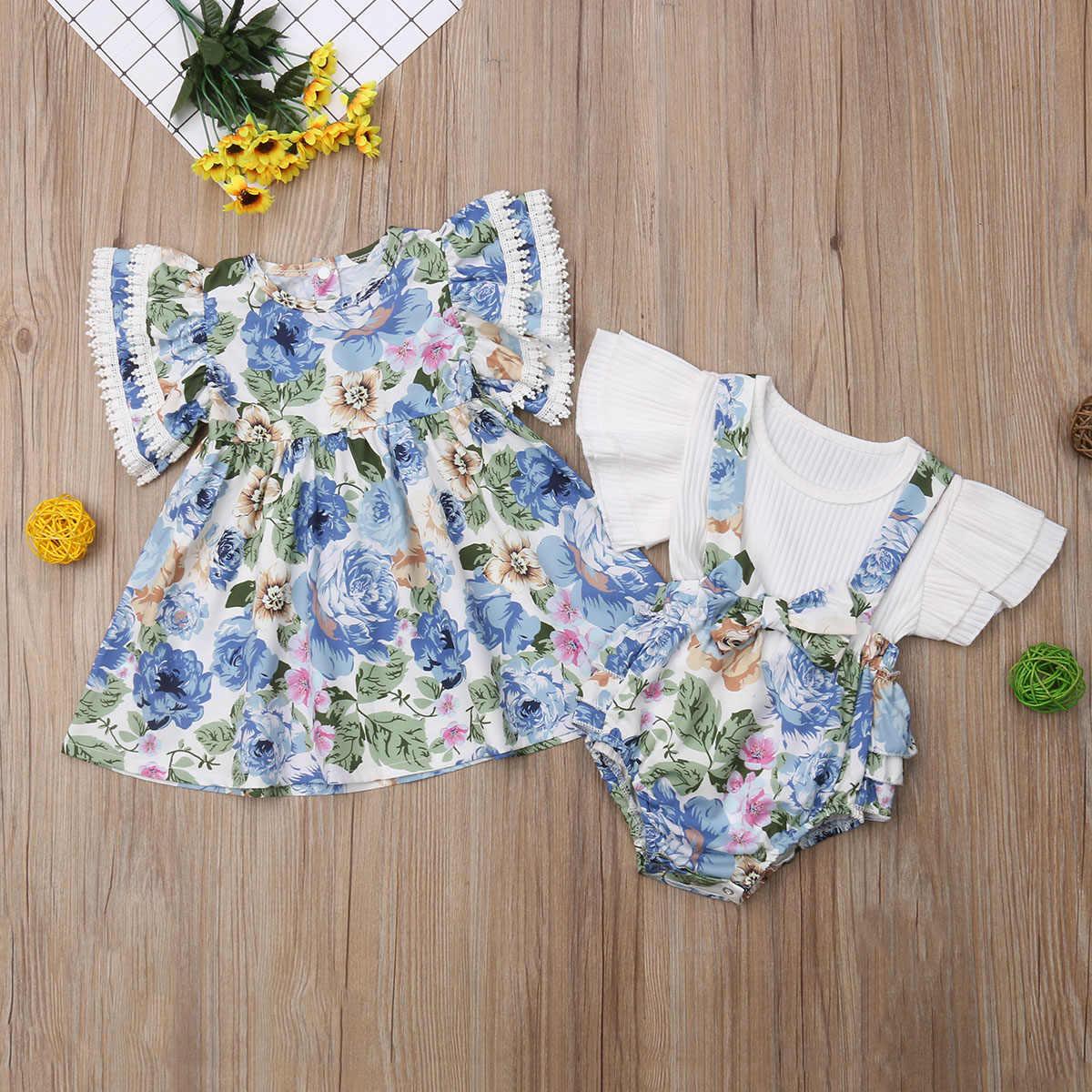 2019 Baru Anak-anak Balita Putri Bayi Keluarga Sister Sesuai dengan Pakaian Set Bunga Gaun/Suster Bib Tali Celana Pendek + kemeja 2 Pcssets