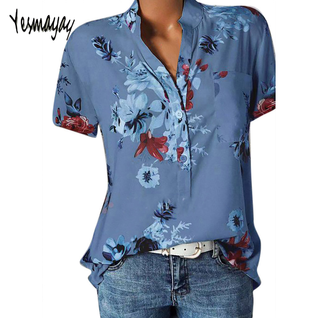 Fashion   Blouse   Women Plus Size 5XL Summer V-neck Print   Blouse     Shirt   Tops Short Sleeve Blusas Mujer 2019 womens tops and   blouses