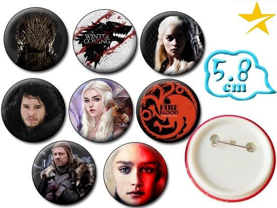 Giancomics Hot Game of Thrones Pins Set Movie Character Button PVC Cool Pattern Badges Brooch Chestpin Ornament Accessory Gifts