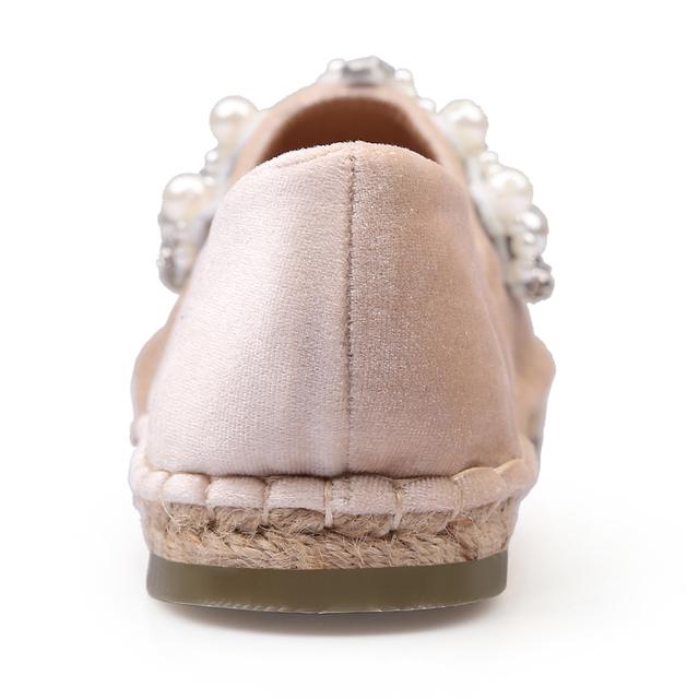 New Bling Espadrilles Luxury Loafers Women Office Round Toe Fisherman Flats Black Pink Brand Designer Fashion Ladies Women Shoes