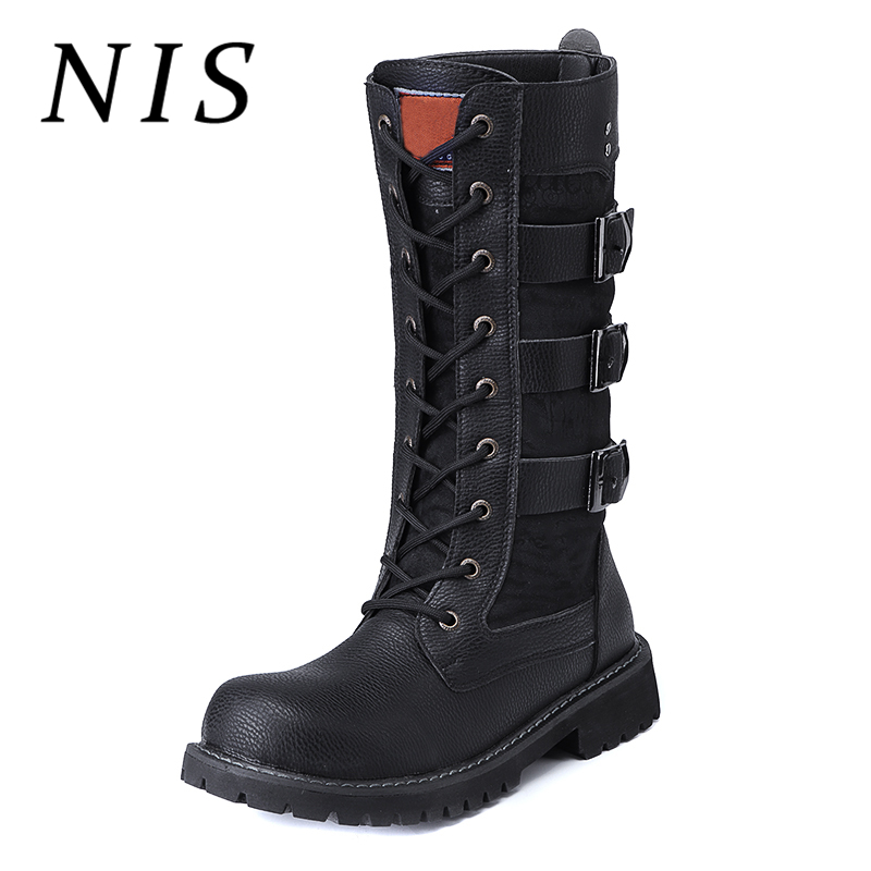 e80c94beea25a NIS Male Fashion Motorcycle Boots Men Shoes Spring Autumn PU Leather  Lace-up Mid-