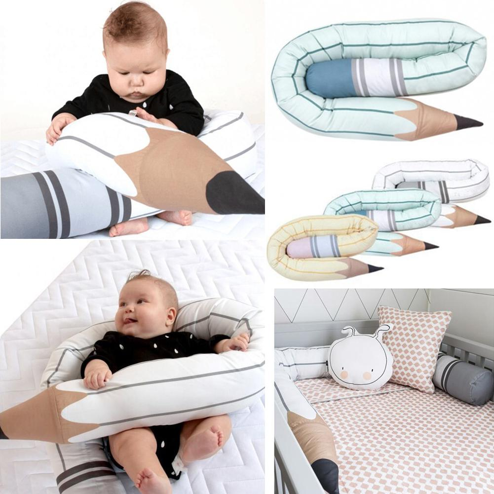 Kidlove Baby Bed Bumper Safety Crib Fence Pencil Shaped Anticollision Bolster Throw Pillow Kids Room Baby Crib Protector