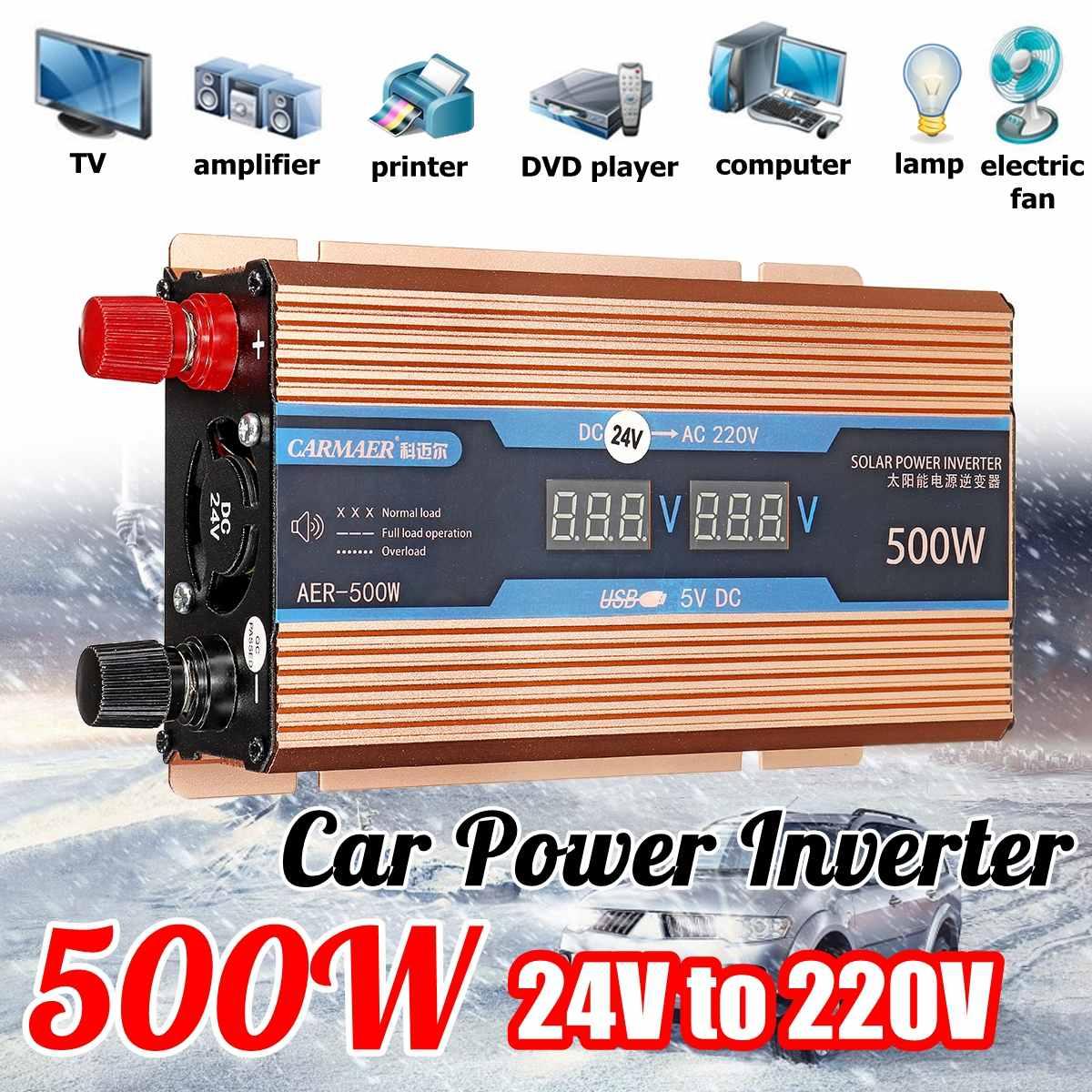 Autoleader 500W Car Power Inverter 380W 12V 24V to 220V 50Hz 0.9A Digital Display Gold Aluminum Alloy for car truckAutoleader 500W Car Power Inverter 380W 12V 24V to 220V 50Hz 0.9A Digital Display Gold Aluminum Alloy for car truck