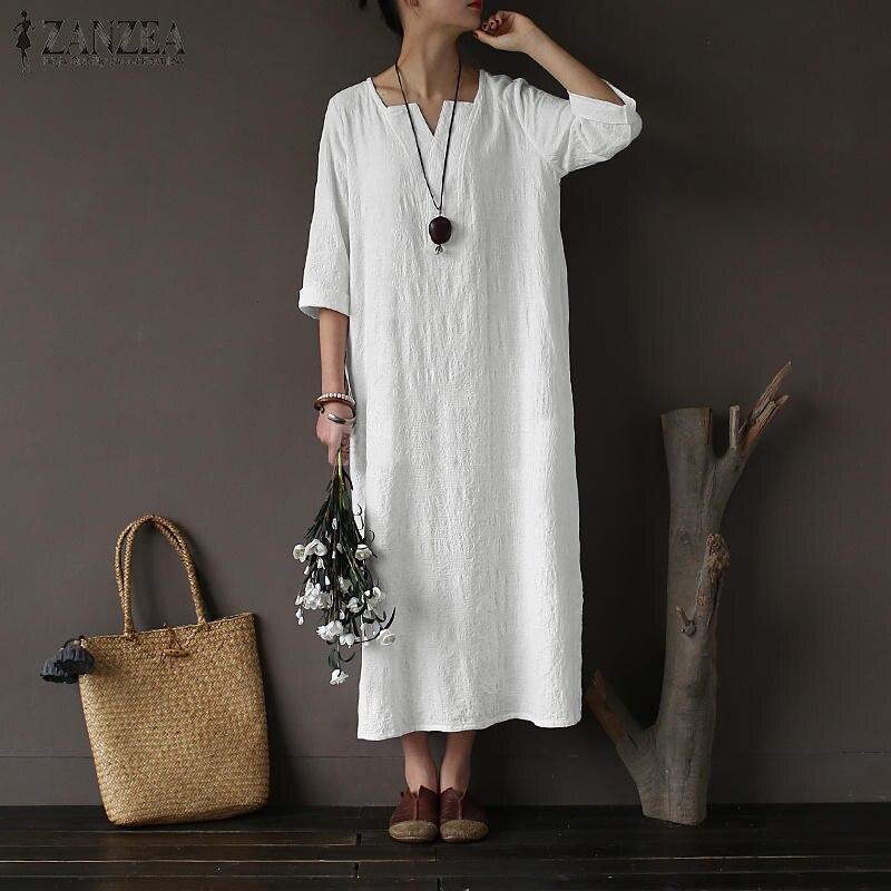 2019 Spring ZANZEA Vintage Women O-neck Long Sleeve Cotton Linen Dress Maxi Long Vestido Femme Casual Loose Solid Kaftan Dresses