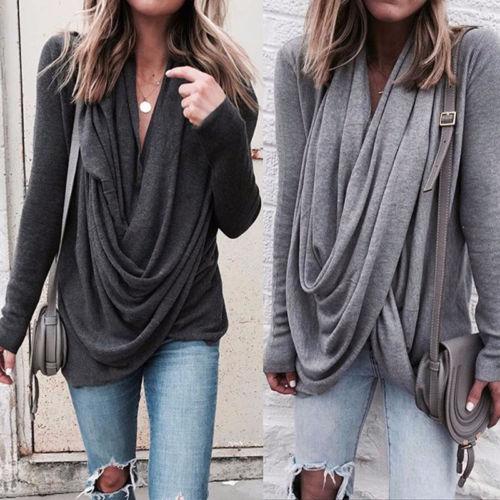 Women Loose Blouses Casual Long Sleeve Tops Shirts Blouse Ladies Clothing Irregular