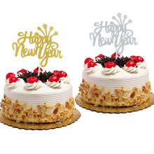 1pc New Year Cake Topper Merry Christmas Happy Flag With Stars Xmas Party Decor Gold Silver