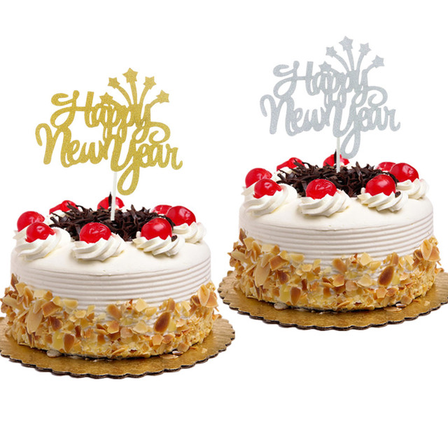 1pc new year cake topper merry christmas happy new year cake flag with stars xmas new